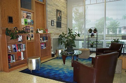 The Jessie Allen White reading corner in the library lobby.